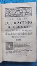 LE JARDIN DES RACINES GRECQUES MISE EN VERS FRANCOIS  -1741- LINGUISTIQUE