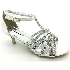 WOMEN'S PARTY SANDALS LOW HEEL PROM EVENING BRIDAL DIAMANTE SHOES UK SIZE S-5