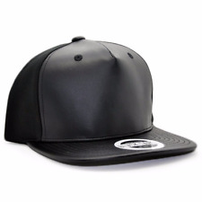 BRAND NEW BLVCK LABEL Headwear black leather FRONT and brim  ADJUSTABLE CAP HAT