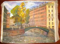 RUSSIAN CITY LANDSCAPE IMPRESSIONISM OIL ON CANVAS PAINTING ST PETERSBURG