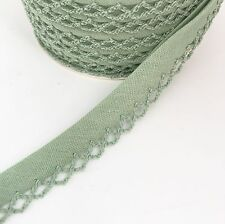 Sage Olive Green 12mm Pre-Folded Plain Bias Binding with Lace Frilled Picot Edge