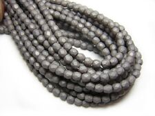3mm Saturated Gray Czech Glass Firepolished Round Beads (50) #4141