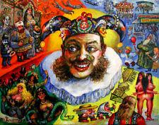 CIRCUS SIDESHOW FREAKS RUSSIAN CARNIVAL ORIGINAL PAINTING ART BY Ari Roussimoff