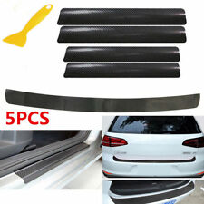 5Pc 3D Carbon Door Fiber Door Plate Sticker Protector Sill Scuff Cover Universal