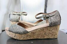 Toms metallic burlap platform wedge sandals 9 new shoes