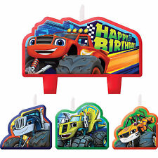 Blaze Monster Machine CANDLE SET 4pcs Happy Birthday Party Supplies Cake topper