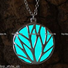 Aqua Glow in the Dark Circle Necklace Glowing Pendant Gift for Bestfriend Mum