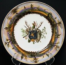 Awesome Antique German Hand Painted Hunting Plate Shield w/ Waidmannsheil