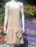 Vintage Drop Waist Dress 80s Party Prom Gatsby Pink Bow Sz 12