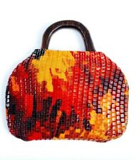 Red Exclusive Purse Pejibaye Wood Designer Handmade Synthetic Textile Statement