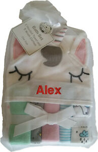 Personalised Embroidered Baby Hooded Towel And Wash Cloths Set any name gift