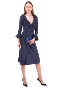 FREE PEOPLE Midi Wrap Dress Size XS Lame Effect Ruffle Trim Flare Cuff V-Neck