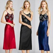Lace Satin Dress Women Night Dress Faux Silk Strap Long Sleepwear Nightwear