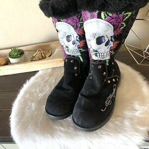 Ed Hardy Retired Suede Fur Lined High Boots Skulls Tattoo Women Size 8.5-9