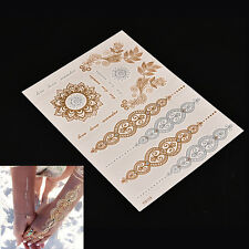 1Sheet Temporary Flash Tattoo Inspired Body Makeup Sticker Gold Silver Metallic*