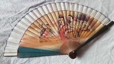Antique Hand Fan Wooden Cloth Spanish Ladies Bullfighter Handpainted