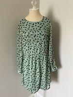 NWOT ModCloth Sugarhill Boutique Pale Green Cat Print Sheer Sleeve Dress - XL