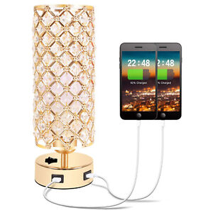 Altatac Crystal Gold Table Lamp Bedside Light Nightstand Dual USB Charging Ports