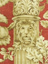 Red Columns With Lions P. Kaufmann Drapery Upholstery Fabric By The Yard