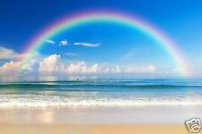 Mural wall sticker - sea beach Rainbow - 12 pi x 8 pi custom ADHESIF DECOR DECO