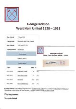 George Robson West Ham Utd 1928-1931 RARE mano originale firmato TAGLIO / CARD
