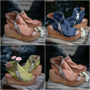 Womens Ladies Wedge Platform Open Toe Sandals Beach Zip Casual Ankle Boots Shoes