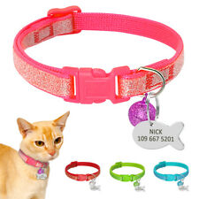 Bling Sequins Cat Breakaway Personalized Collar Small Puppy Dog ID Tag Engraved