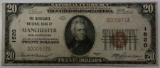 RARE 1929 MANCHESTER NH New Hampshire $20 Bill National Currency Banknote CH1520