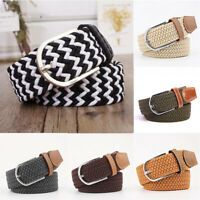 Woven Canvas Waist Belt Straps Men's Elastic Stretch Waistband Buckle Braided