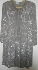 JUDITH ANN Sheath Duster Suit Small Silk Gray Silver Sequin Evening Cocktail 70s
