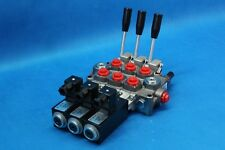 NEW HYDRAULIC BANK MOTOR 3 SPOOL VALVES 60 l/min ELECTRIC 12V + LEVER GALTECH