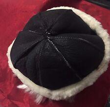 Round Winter Beanie Black Sheepskin Fur Hat Real Leather Warm
