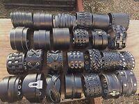 Punk Men Women Wide Genuine Leather Belt Bracelet Cuff Wristband Bangle (USA)