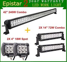 "42"" 240W LED Light Bar Combo Truck Jeep+ 2X 4"" 18W Cree Spot+2X 14"" 72W Combo"