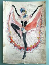 RUSSIAN USSR CIRCUS/THEATRE/BALLET COSTUME WATERCOLOR SKETCH PAINTING 80's #107