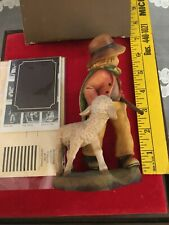 Anri Italy Wood Carving Ferrandiz 6� Admiration Boy Sheep Lamb Staff 470/2250 Wb
