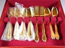 Gold Tone Silverware Stainless Japan Flatware Set 40 Piece with Wooden Box