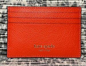 NWT Kate Spade Small Slim Card Holder Leather Eva Digital Red
