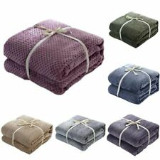Winter Warm Blanket Plaid Fleece Sofa Cover Queen King Size Fancy Premium Gift