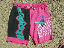 Short bermuda vintage FREE SPIRIT années 80 maillot de bain swimsuit noir rose L