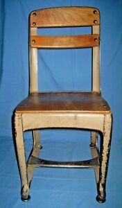 Vtg Antique Small Wood/Wooden Metal Childs School Chair #13!
