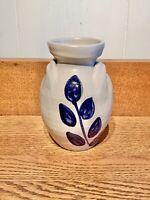 """Vintage Williamsburg Pottery Salt Glaze Blue Leaf Vase 6"""""""