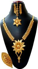 Indian 22K Gold Plated Indian 12'' Long Bridal Necklace Earrings Tikka Ring a