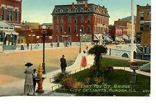 East Fox Street Scene-Bridge-Aurora-City of Lights-Illinois-Vintage Postcard