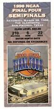 1998 NCAA Final Four Semi Final Ticket Stub Kentucky Utah