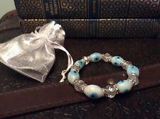 Turkish Evil Eye Bracelet San Liurfa( Urfa)  Handblown Glass White Beads