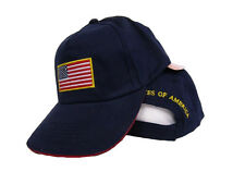 USA US U.S. America American Flag Patch Dark Blue Gold Letters Baseball Cap Hat