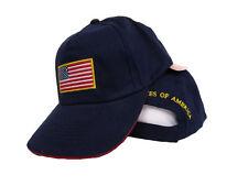 USA US U.S. America American Flag Patch Dark Blue Gold Letters Baseball Cap Hat