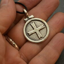 Sterling silver cross medallion coin pendant big medieval cross byzantine