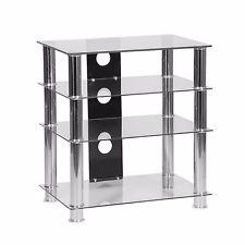 Hi Fi Stand 4 Shelf Clear Glass AV Hi-Fi Rack Unit Records Vinyl Player Storage